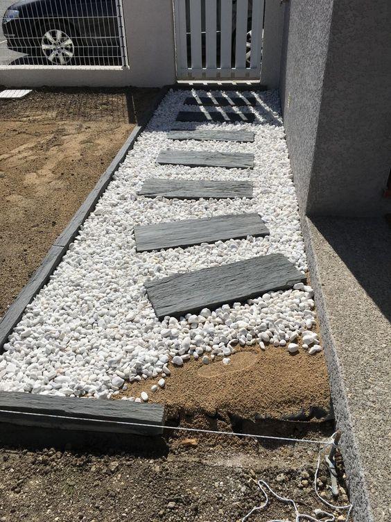 dalle galet allée gravier pas japonais dalle grise décoratif blanc - gravier autour de la maison