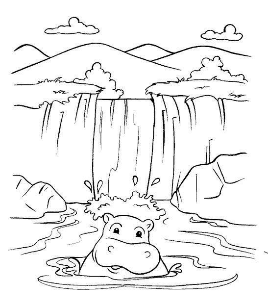 Waterfall And Hippopotamus Coloring Page For Kids Coloring Pages Nature Coloring Pages Coloring Sheets For Kids