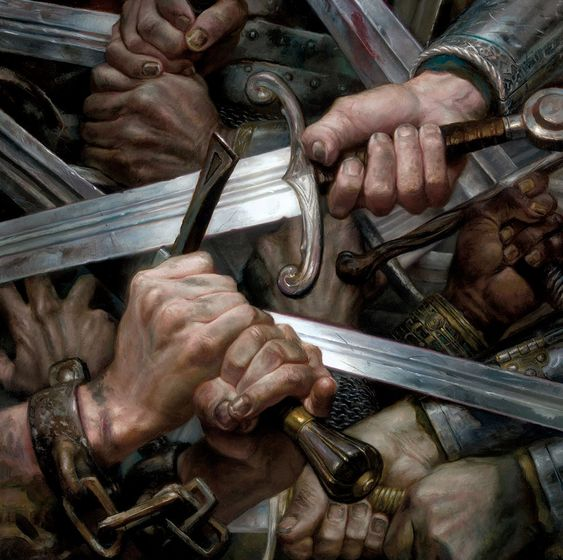 Tormenta de Espadas, por Donato Giancola para A Song of Ice and Fire Calendar 2015