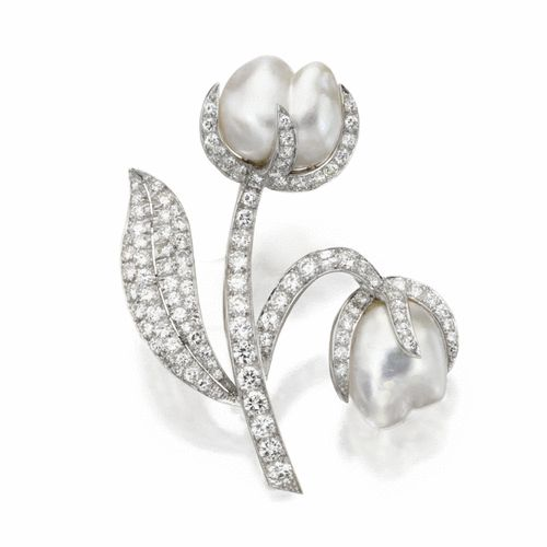 Freshwater pearl and diamond flower brooch, Ruser | Lot | Sotheby's