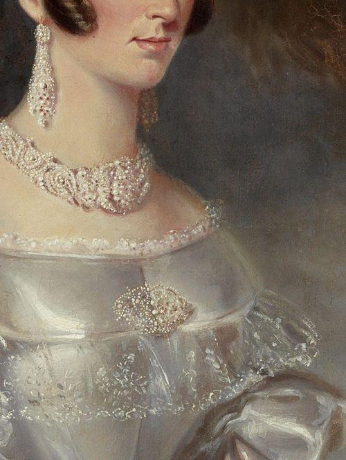 Portrait of Mrs Alexander Spark by Maurice Felton, 1840 (detail):