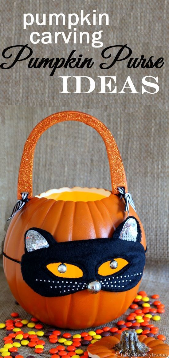Pumpkin Carving Ideas Pumpkin Purse Pumpkins, Cute cats and Cat mask - halloween decorations to make on your own