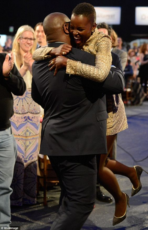 The man himself: Director of 12 Years A Slave Steve McQueen embraced Lupita when it was announced
