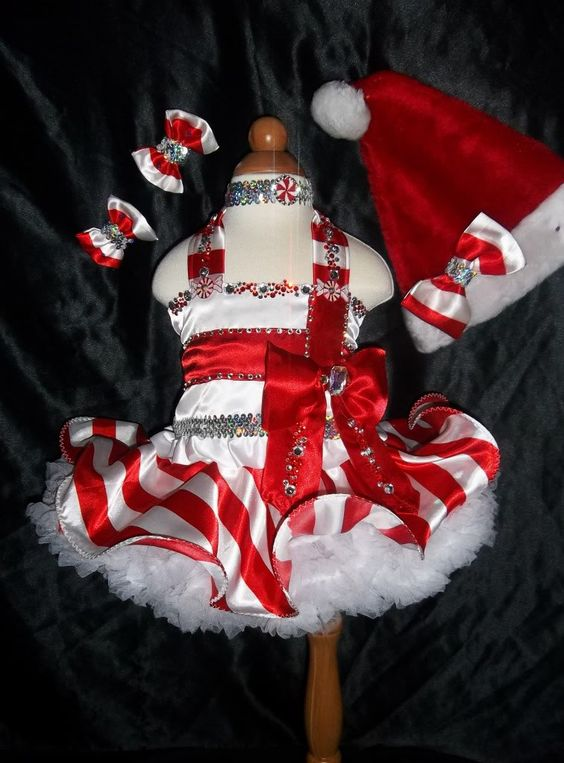 national christmas occ wear | Details about NATIONAL PAGEANT CHRISTMAS WEAR ~GLITZ CANDY CANE STRIPE ...