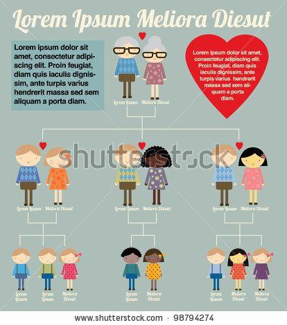 family tree template info graphics vector/illustration by lyeyee, via ShutterStock
