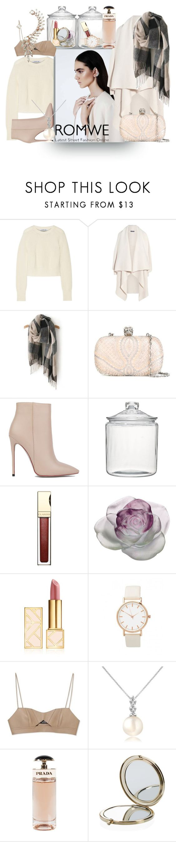"""Grey Classical Scarve...all nude!"" by chrisfili on Polyvore featuring Helmut Lang, Alexander McQueen, Akira Black Label, Crate and Barrel, Clarins, Daum, Tory Burch, Salvatore Ferragamo, Forzieri and Prada"