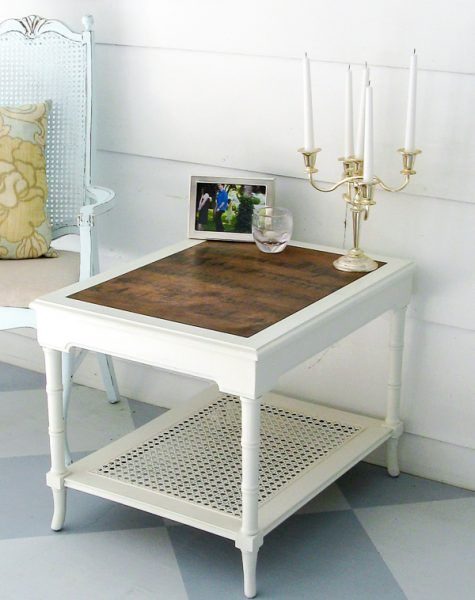 Trash To Treasure Replace A Glass Table Top Lovely Etc End Table Makeover Refurbished Table Table Makeover