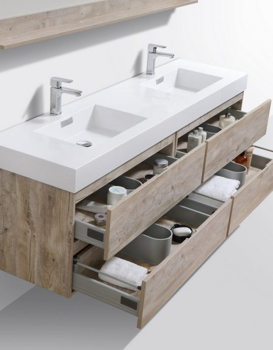 Bliss 72 Nature Wood Wall Mount Double Sink Modern Bathroom Vanity Double Vanity Bathroom Modern Bathroom Vanity Bathroom Vanity