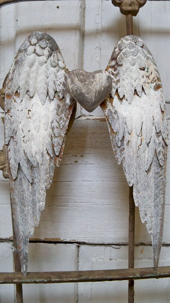Gray White Metal Wings Wall Sculpture Shabby Chic Rusted