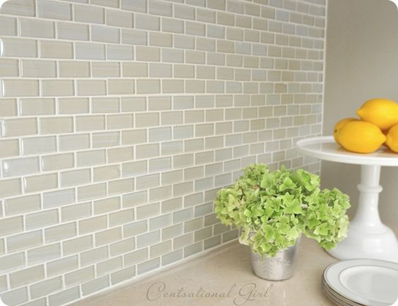mini subway tile back splash kitchen dining