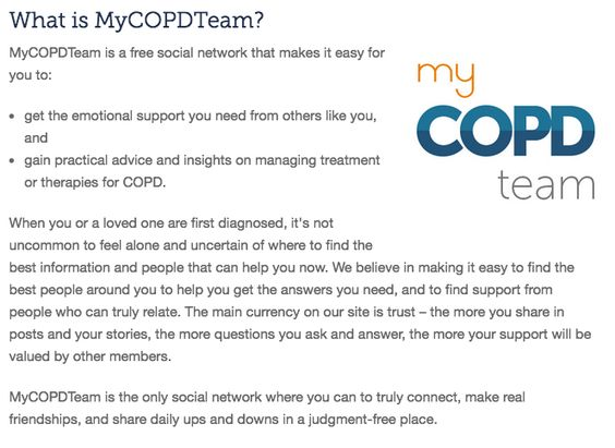 MyCOPDTeam is the social network for people living with COPD. Meet others, review providers, ask advice, and share encouragement!