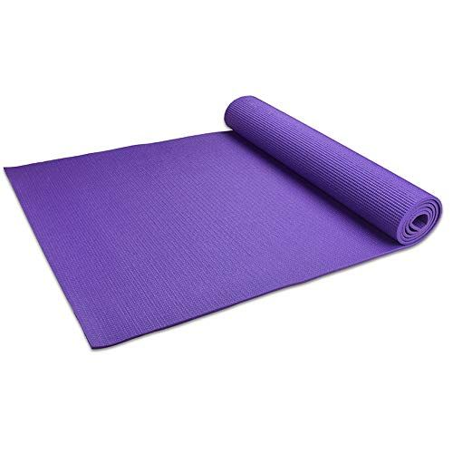 Evilto Yoga Mat All Purpose 1 4 Inch Exercise Mat With Carrying Strap High Density Non Slip Trainer Mat For Health Fitn Yoga Strap Mat Exercises Types Of Yoga