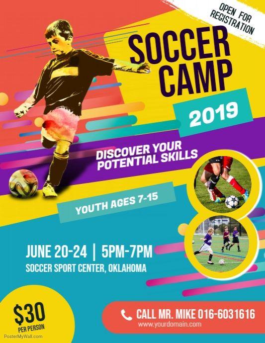 Soccer Camp Flyer Template Soccer Camp Event Poster Design Poster Design Kids