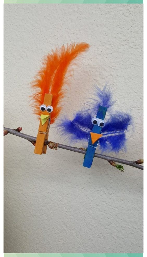 Crafting tip: Colorful birds made of clothespins - dorfmama.de