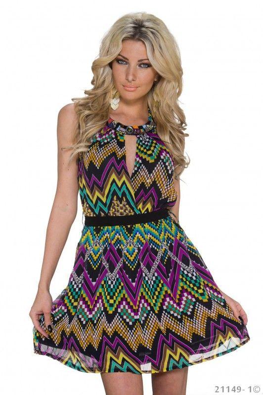 Multicolor paars jurkje met een mooi patroon met halssluiting