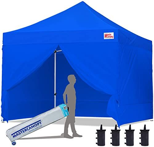 New Mastercanopy Ez Pop Up Canopy Tent 10x10 Commercial Instant Canopies 4 Removable Side Walls Roller Bag Bonus 4 Sandbags 10x10 Feet Blue Online Shoppin In 2020 Canopy Tent Pop Up Canopy