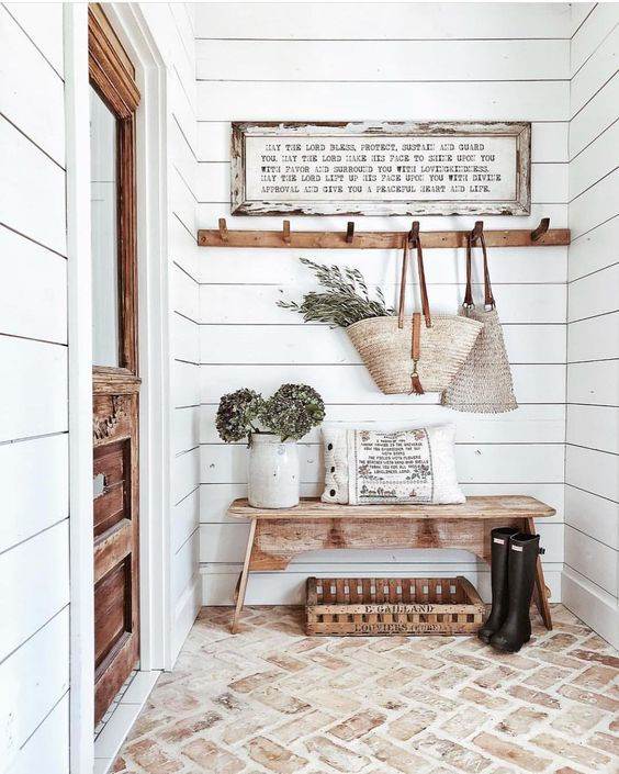 "Farmhouse Features on Instagram: ""Mudroom goals!! That brick floor though!!😍 . . . 📸: @whitetailfarmhouse . Use #farmhousefeatures for a chance to be reposted"""