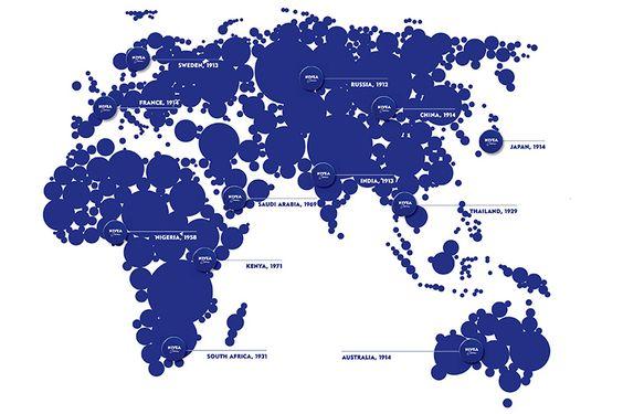 Verbreitung von NIVEA weltweit