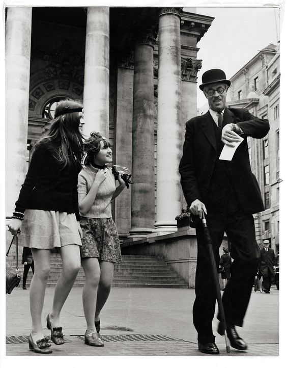 Girls and city gent, London Stock Exchange 1967