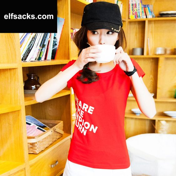 Womens Round Letter Collar Short Sleeve Tshirt Red