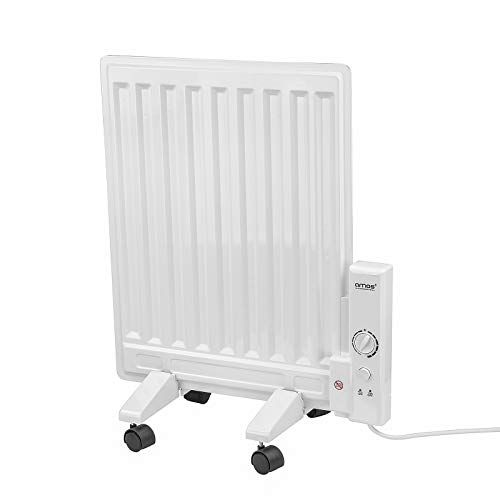 Amos 400w Oil Filled Panel Radiator With Adjustable Temperature Thermostat Compact Slim Home Office Electric Heater Panel Radiators Radiators Electric Heater