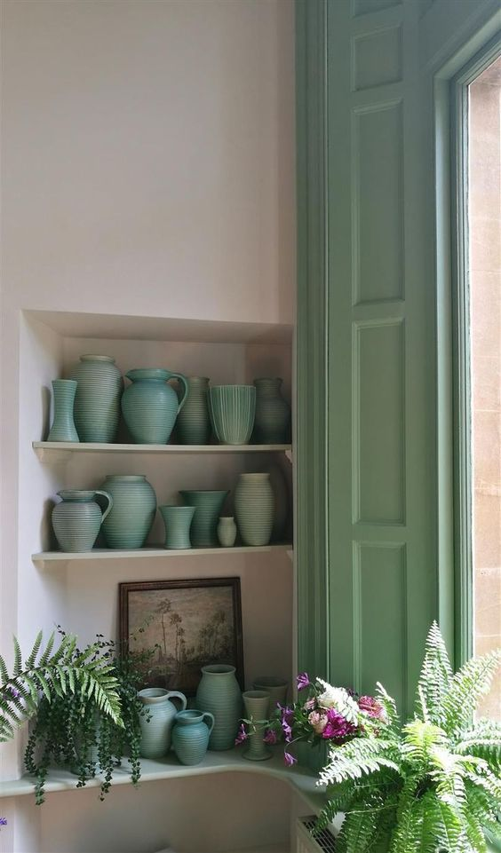 An inspirational image from Farrow & Ball. Come be inspired by interior design photos with French Green Paint Colors and Serene French Blue-Greens. #greenpaintcolors #mintgreen #interiordesign #paint #breakfastroomgreen