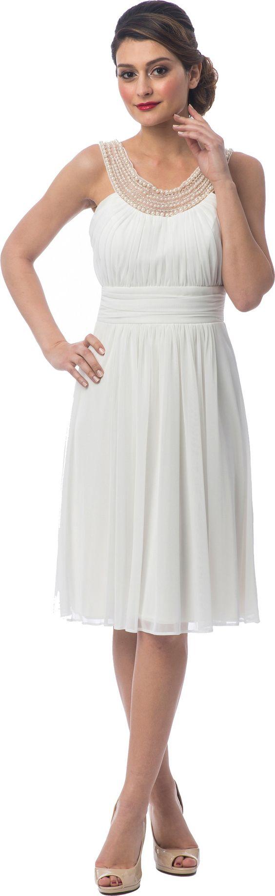 Beaded Bib Knee-Length Bridesmaid Mother of the Bride Dress