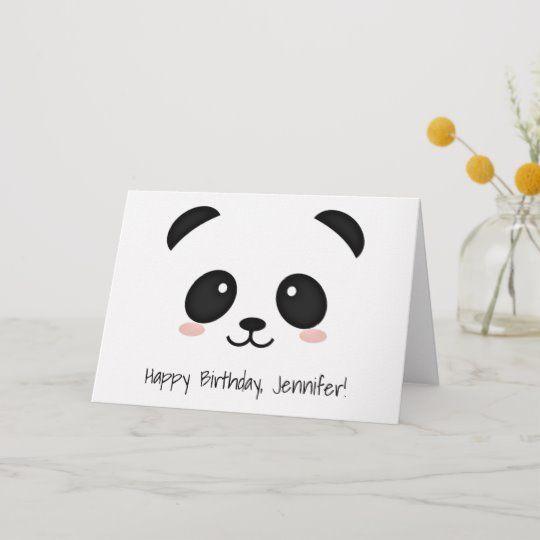 Cute Panda Face Kawaii Birthday Card Zazzle Co Uk Panda Card Birthday Card Drawing Birthday Cards Diy