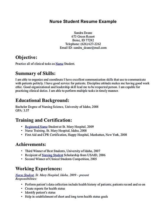 nursing student resume