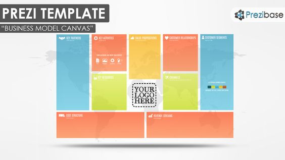 Business Model Canvas Colorful Pitch World Map Prezi Template