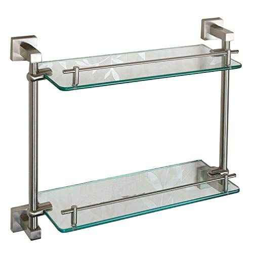 Naiture Tempered Glass Shelf Two Shelves In Brushed Nickel Finish Installation Type Wall Mount Tempered Glass Shelves Glass Shelves Glass Bathroom Shelves