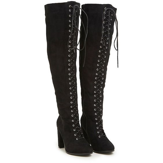 Lace Up Faux Suede Over the Knee Boots (Wide Width Wide Calf ...