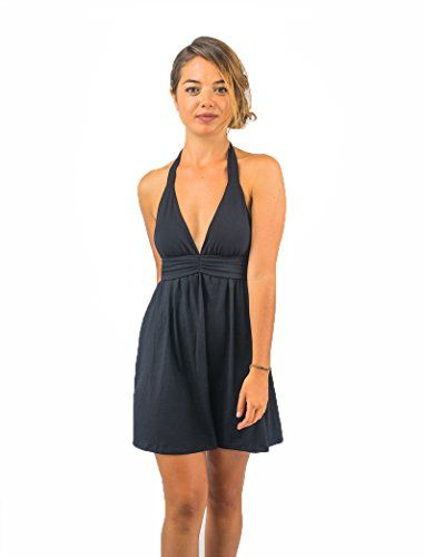 Womens Halter Dress by Tropic Bliss Fair Trade Medium Black *** Click image for more details.