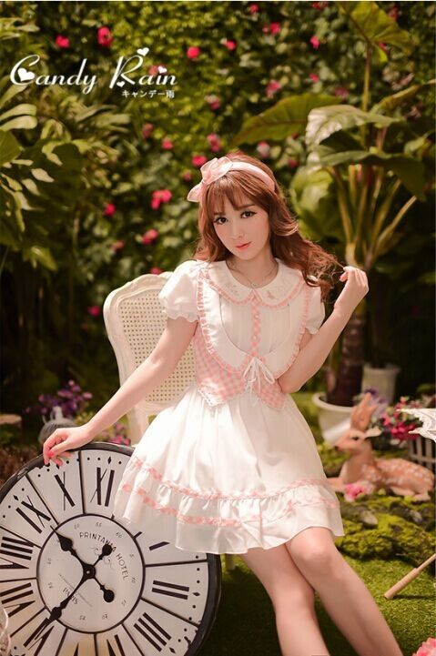 Candy Rain College School Style Sweet Princess Embroidery Lolita OP Dress