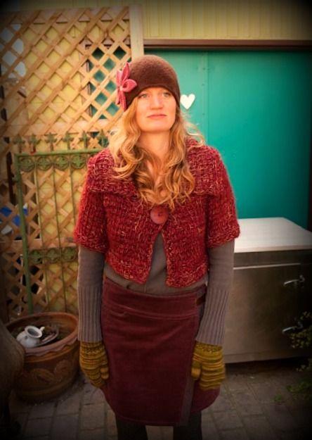 Felted merino wool cloche hat with flower applique ~ handmade in Toronto ($49) + handknit wool shrug ($119).