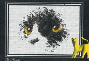 Ms Phoenix by Ronnie Rowe Designs is a cross stitch pattern focusing on this great cat with golden eyes.