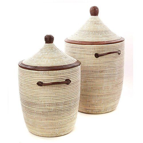 Swahili Modern White Laundry Baskets With Natural Leather Accents