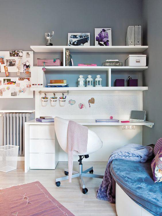 Equipa su dormitorio con una completa zona estudio for Dormitorio juvenil nina