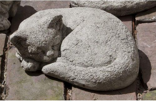 Small Curled Cat Statue In 2020 Cat Statue Stone Garden Statues
