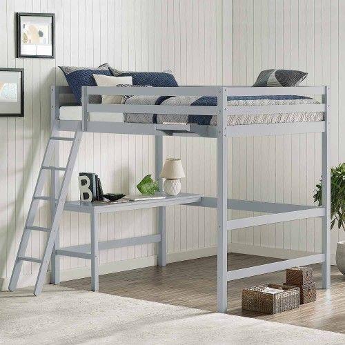 Caspian Full Loft Bed With Hanging Nightstand Gray Loft Bed Frame Loft Bed Low Loft Beds