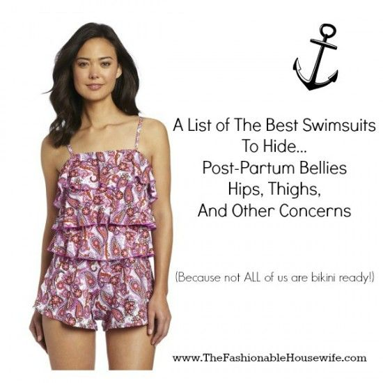 "A list of the best swimsuits to hide post partum bellies, hips, thighs and other ""concerns"""