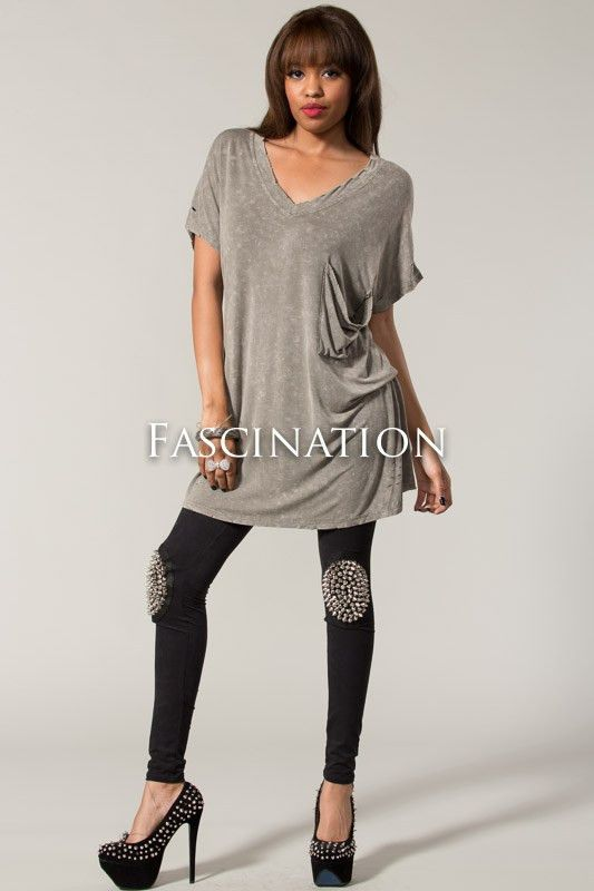 acid washed Short sleeve V-cut top with a large pocket in the front IN – Over The Edge Apparel