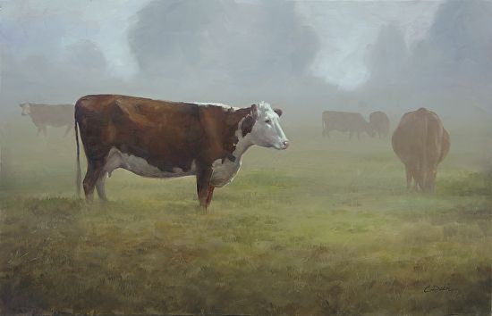 Misty Morning Pasture by Charity Dakin Oil ~ 11.75 x 18.25 cows on a sunny summer morning.
