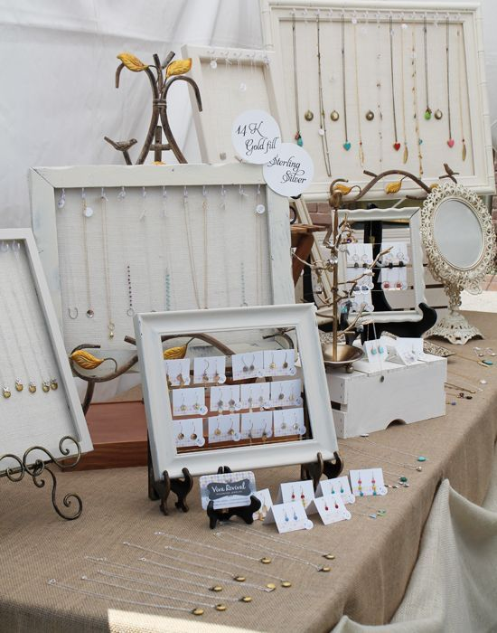 Craft Show Table Displays | white & burlap craft show table setup | Display stands for jewellery