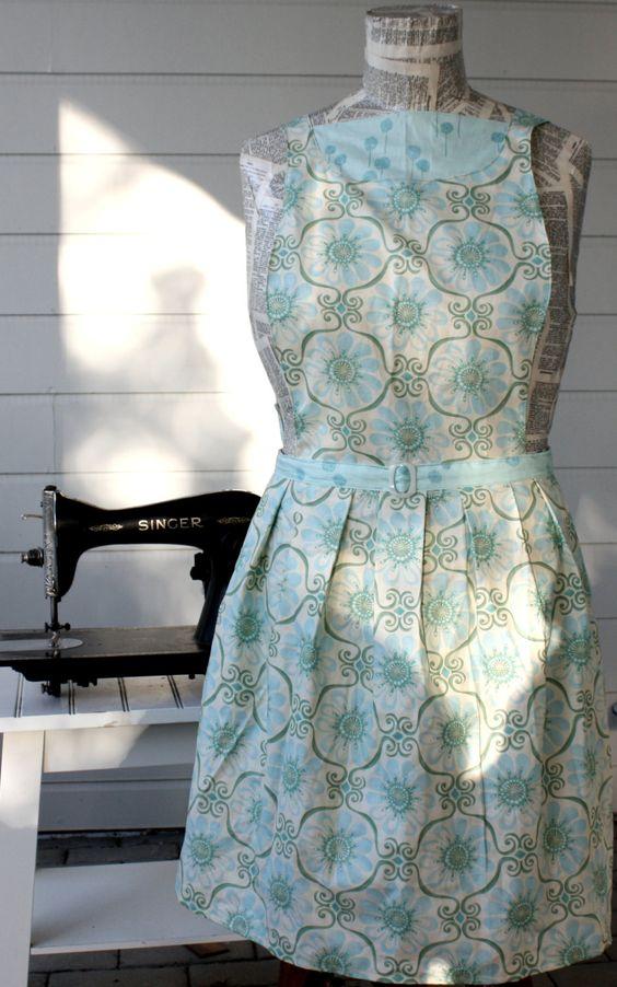 Evelyn Apron  in BlueGreen Fleur  Vintage by SugarSpiceandNutmeg, $30.00