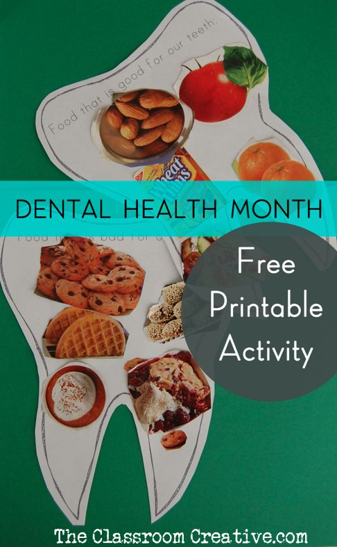 FREE printable dental health month sorting activity for kids: good food for the teeth or bad food for the teeth?