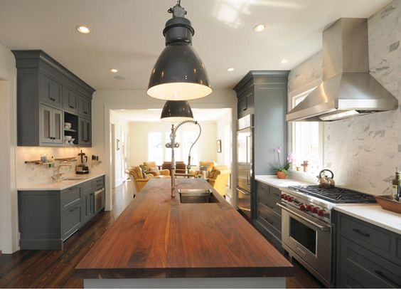 Gray Cabinets Butcher Blocks And Gray Kitchens On Pinterest