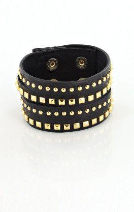 Eternity Studded Leather Armband/Cuff Bracelet by Stylesnob