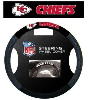Kansas City Chiefs Black Steering Wheel Cover
