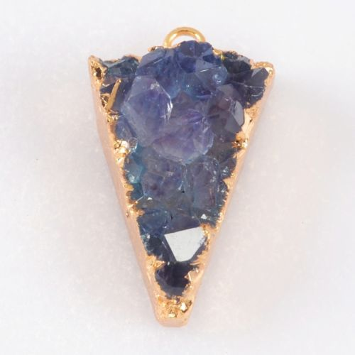 Triangle-Purple-Blue-Agate-Druzy-Geode-Charm-One-Bail-Gold-Plated